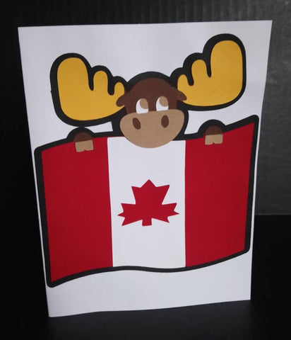 moose with flag card