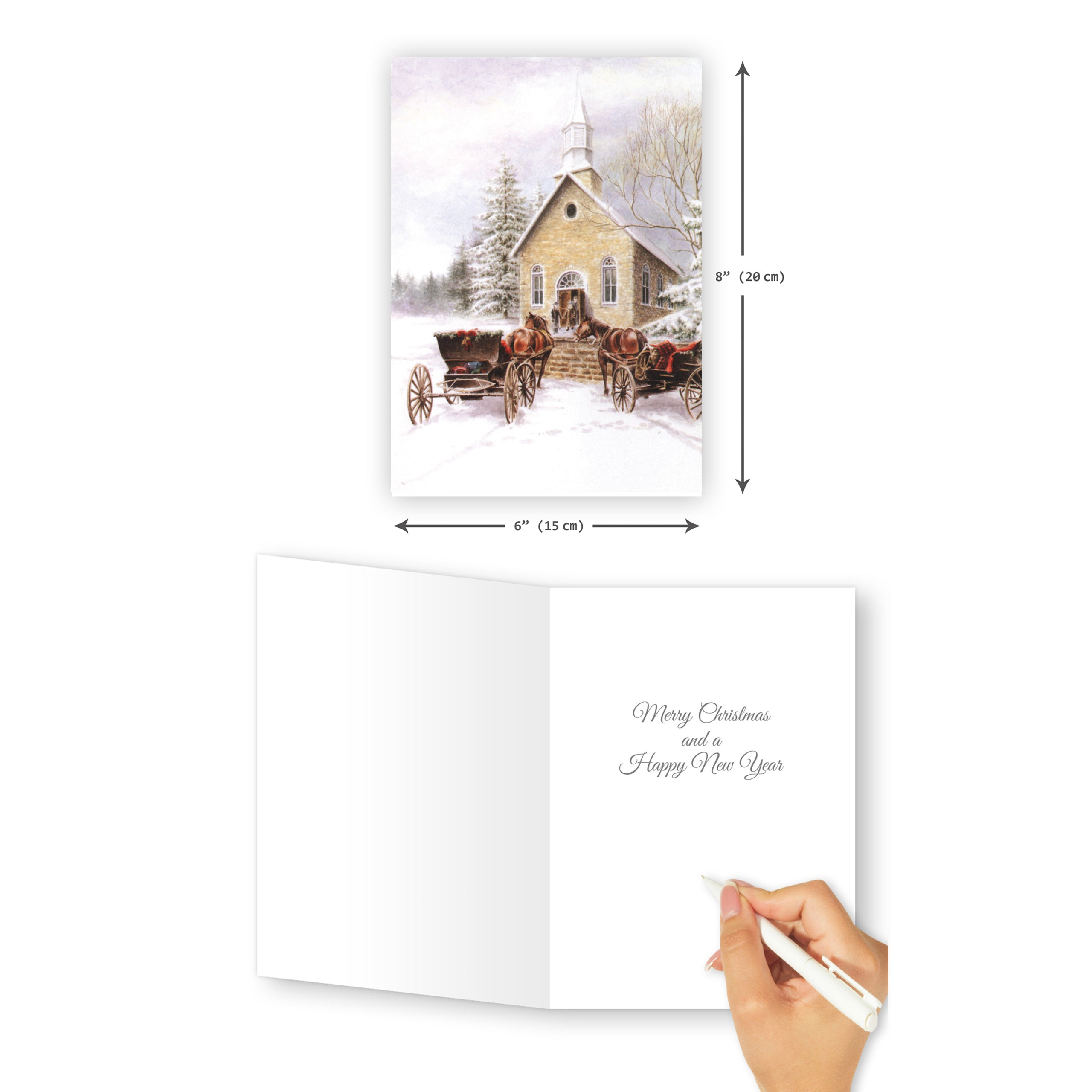 'Small Town Christmas' Merry Christmas Card - Northern Cards size with inside
