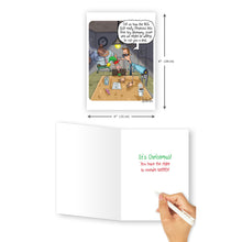 'Elf Interrogation' Christmas Card - Northern Cards size and inside