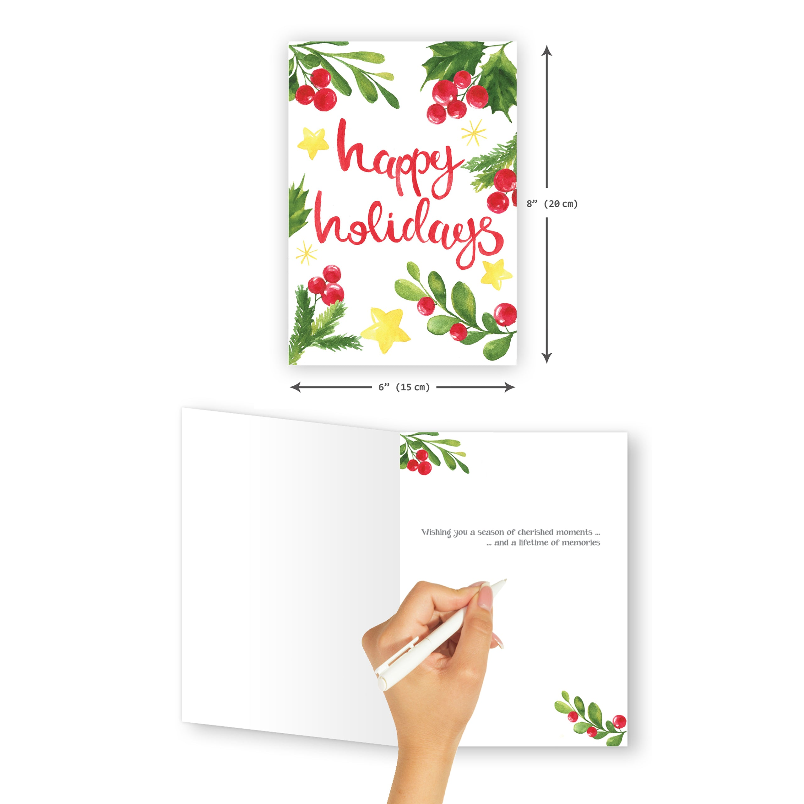 'Happy Holidays' Christmas Card - Northern Cards size and inside