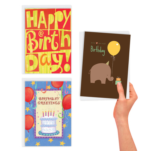 3 Pack Whimsical Birthday Cards