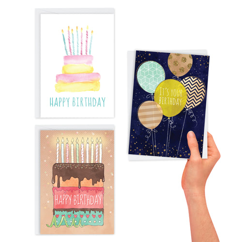 3 Pack Contemporary Birthday Cards