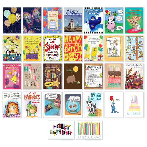 Boxed Birthday Greeting Card Assortment (30 Cards) - Northern Cards