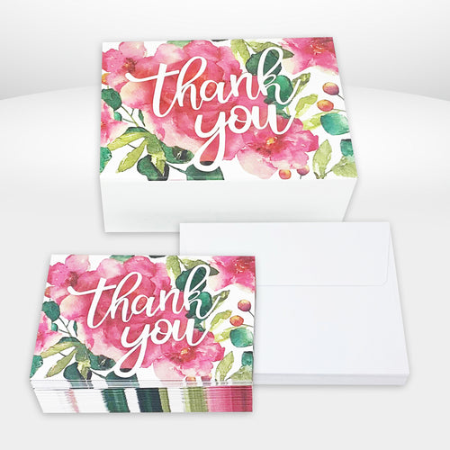 40 Boxed Folded Thank You Notes - Northern Cards