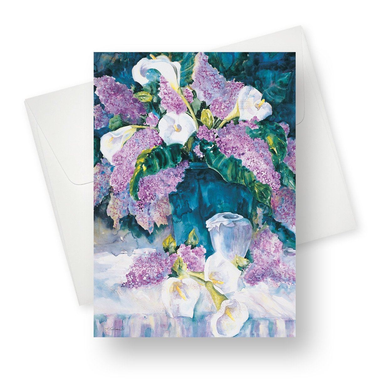 'Lilies and Lilacs' Blank Card - Northern Cards