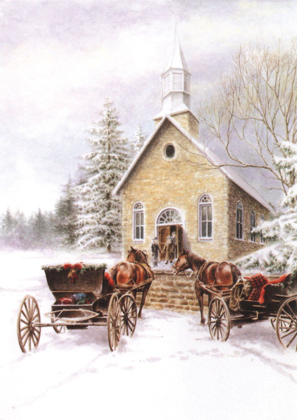 'Small Town Christmas' Merry Christmas Card - Northern Cards front