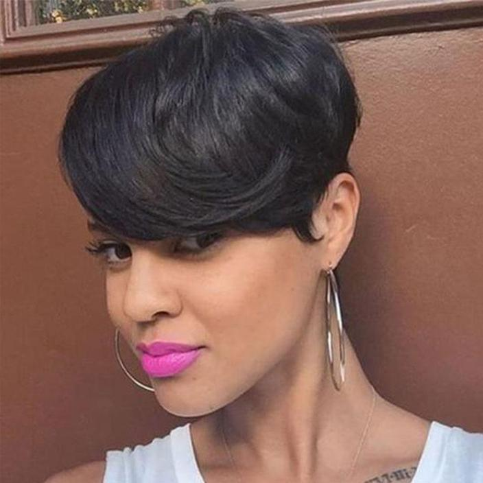 Short Layered Straight Cropped Wig for Black Women