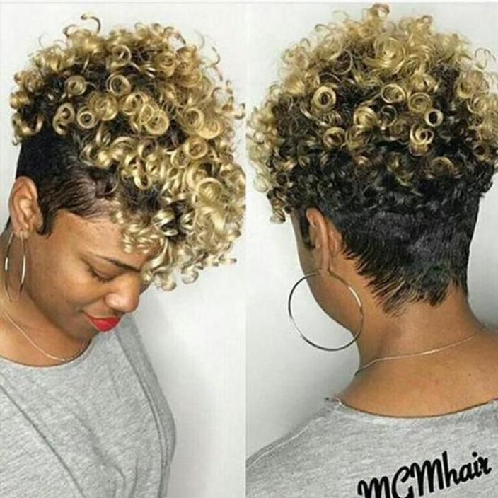 Spiral Short Curly Tapered Hair Wig for Black Women