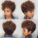 Sassy African American Short Spiral Curly Afro Wig for Women