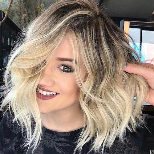 Hairsleisure Human Wig Lace Short Wave 2021 Cabelo Curto Fashion Ombre Blonde Dark Roots Wig