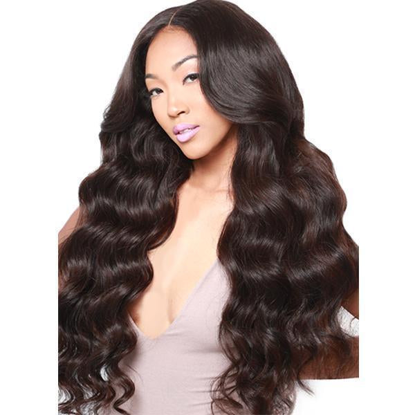 Hairsleisure Human Hair Pre Plucked Body Wave Black Wig for Women
