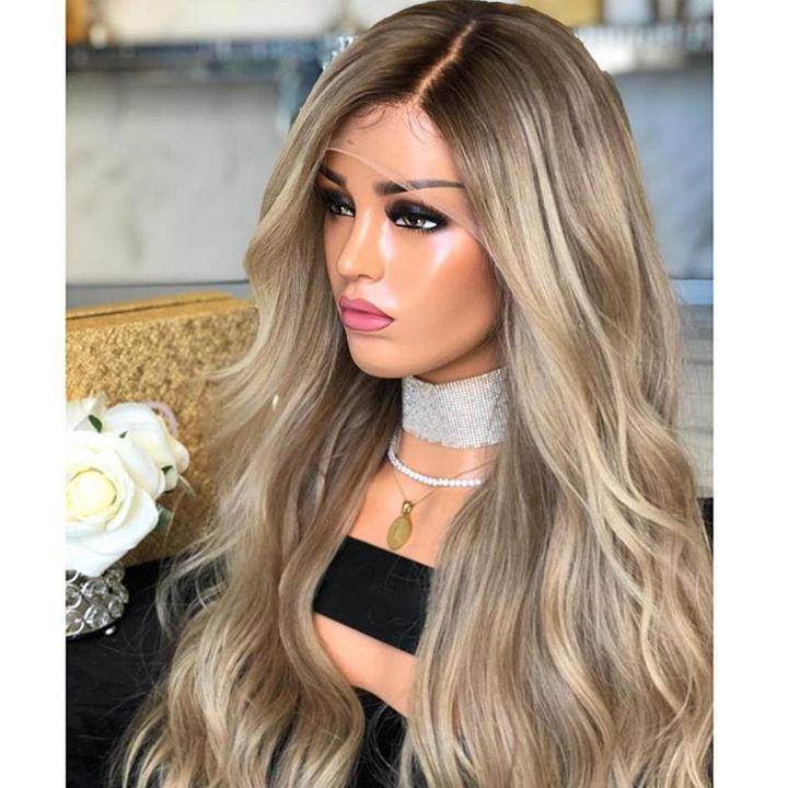 Hairsleisure Long Wave 2021 Brown-Gray Human Hair Lace Wig