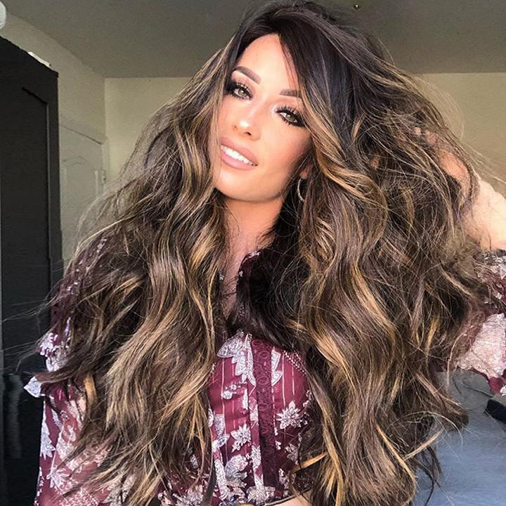 Hairsleisure Lace 360 Wig Pre Plucked Body Wave Wig Dark Brown Fluffy Wig