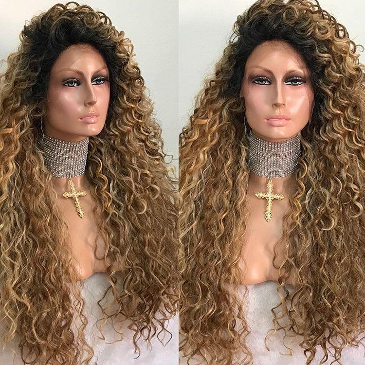 Hairsleisure Gold Brown Roll Wig Long Curly 360 Lace Wig 100% Virgin Human Wig