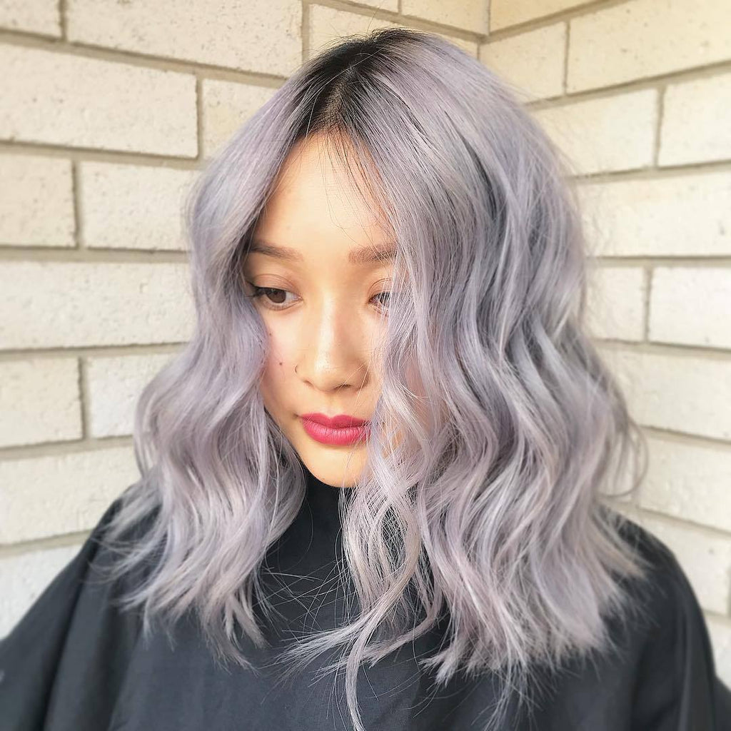 Long Wave New Gray-purple Wig