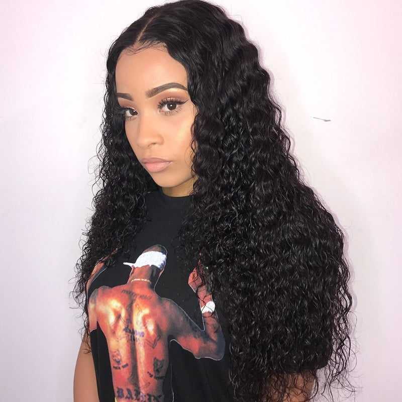 Hairsleisure Human Hair Long Glueless Deep Curly Black Wig for Women