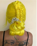 Hairsleisure New Yellow Long Straight Sythentic Front Wig