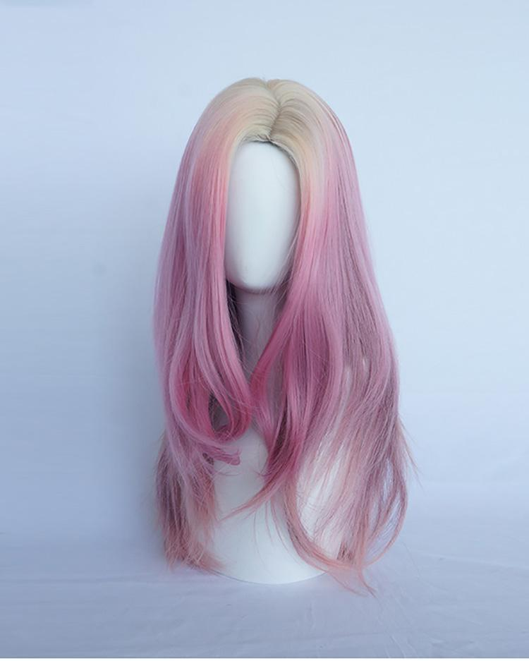 Hairsleisure Gold Gradient Pink Wig Lace Sexy Wave Front Wig (Hand-Tied) Human Wig