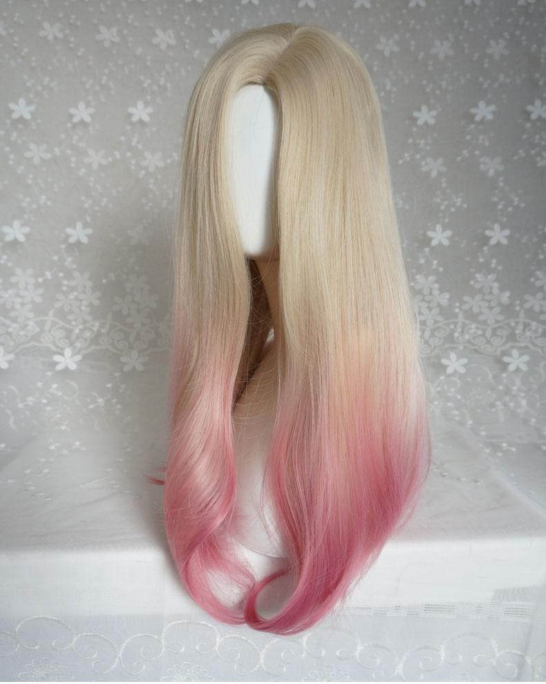 Hairsleisure Fashion Gold Gradient Pink Wig Human Hair Lace
