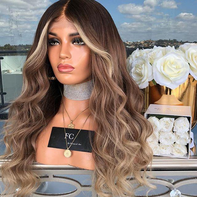 Hairsleisure Small Wavy Brown Bleached Knot Human Hair Lace Wig