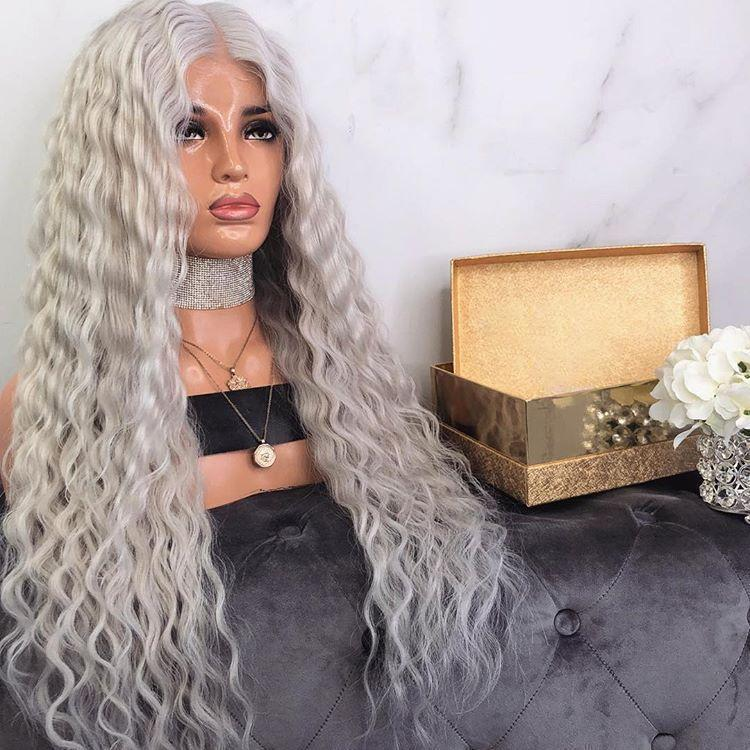 Hairsleisure Long Curly Icey Ice Gray Gold Wig Human Hair Lace