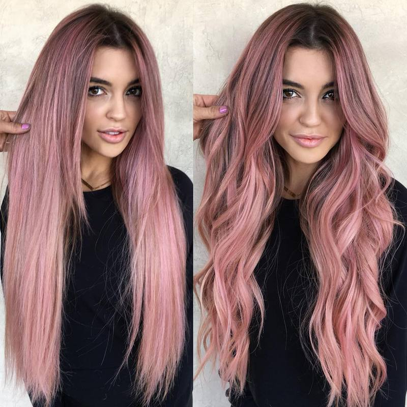 Hairsleisure 360Lace Wig Body Hand-Tied Trendy Wave Wig Human Wig Pink Wig