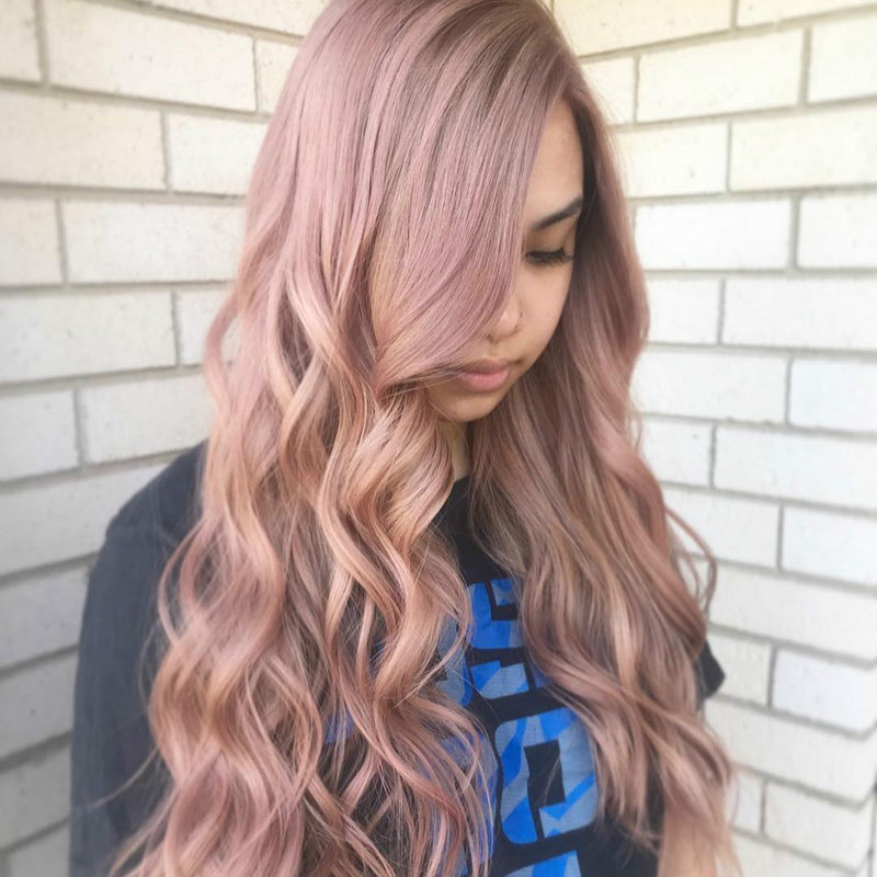 Hairsleisure Long Curly New Pink Wig Human Hair Lace