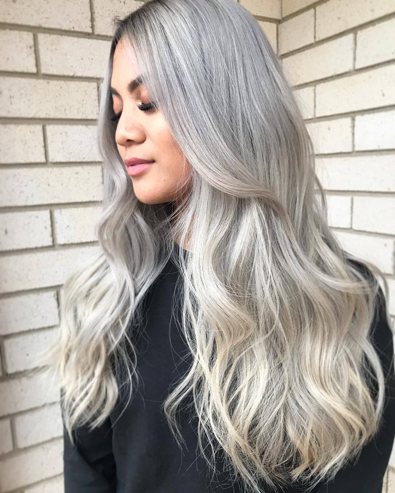 Hairsleisure Long Wave New Platinum Wig Human Hair Lace