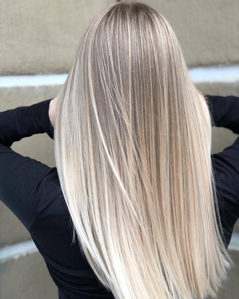 Hairsleisure Long Straight Shadowroot Blended Blonde Wig Human Hair Lace
