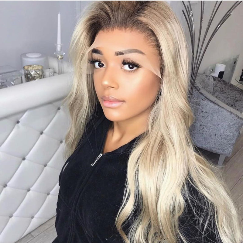 Hairsleisure Long Wave Gorgeous Blonde Curly Human Hair Lace
