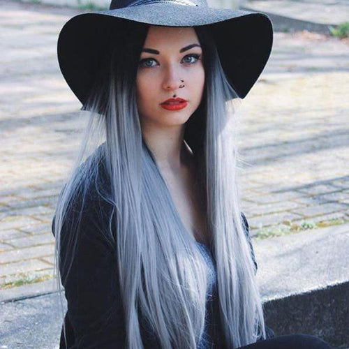 Hairsleisure Long Straight Black to Gray Wig Human Hair Lace
