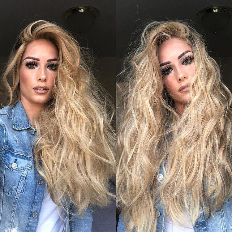 Hairsleisure Long Wavy Blond Wig Human Hair Lace 360 Wig Pre Plucked Body Wave Wig