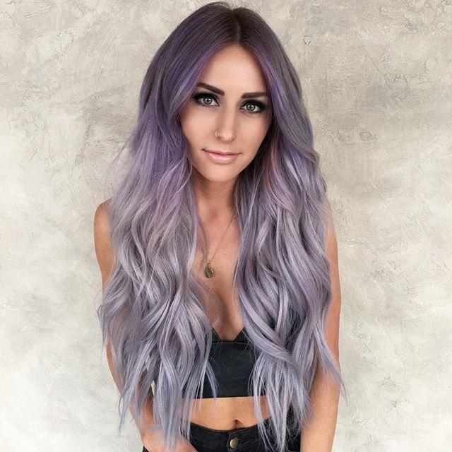 Hairsleisure 360 Lace Long Wave Ombre Light Purple Wig Human Hair