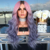Hairsleisure Long Wave Pink Purple Gradient Wig Human Hair Lace