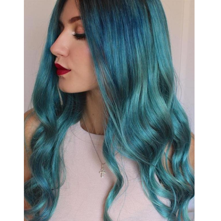 Teal Long Wave Blue Wig Human Hair