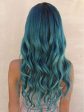 Hairsleisure Teal Long Wave Blue Wig Human Hair for Women