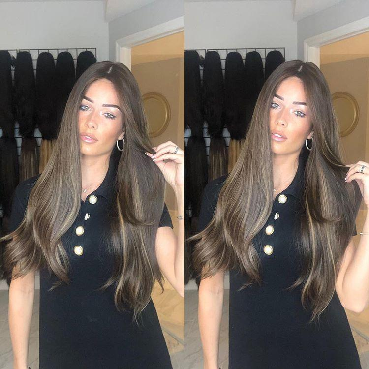 Hairsleisure Brownish Black Long Straight Wig Human Hair Lace