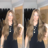 Hairsleisure Brownish Brown Long Wave Wig Human Hair Lace