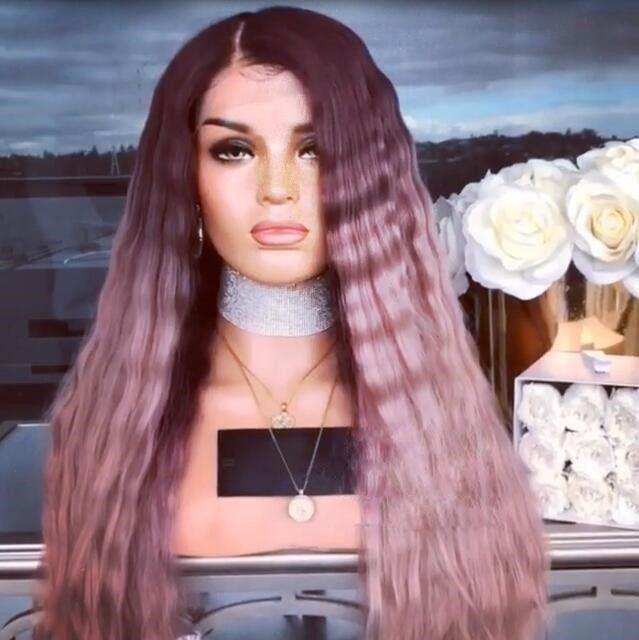 Hairsleisure Deep Plum Fading into Soft Pink Wig Human Hair Lace
