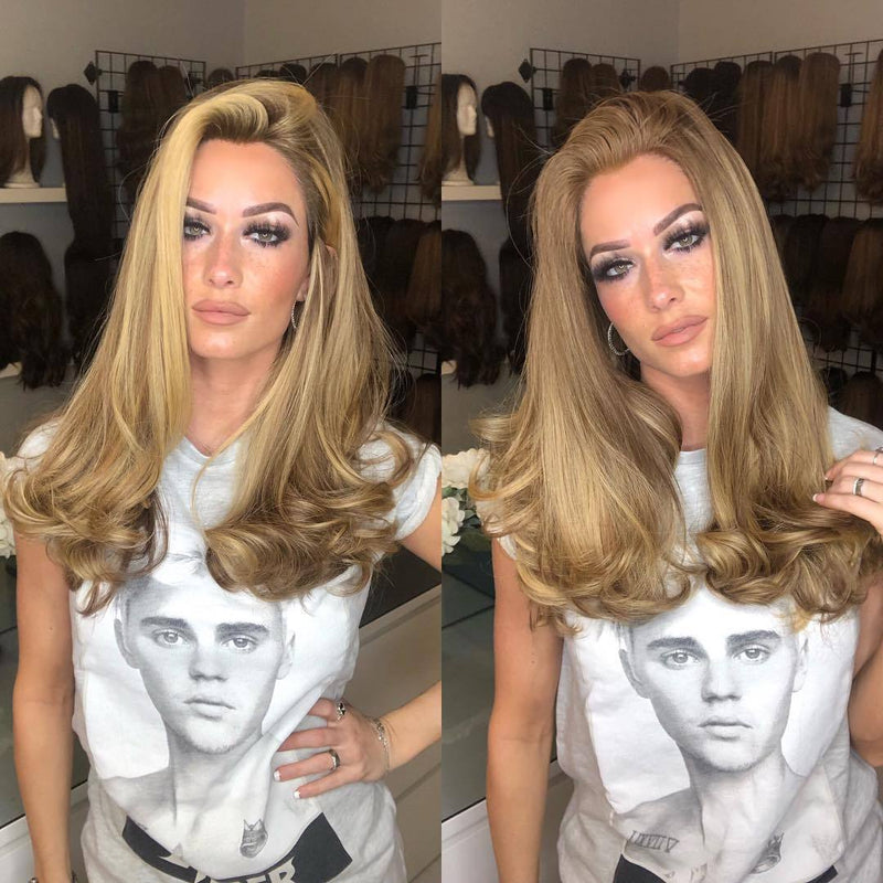 Hairsleisure New 2 in 1 Blended Blonde Curly 360 Lace Frontal Wigs