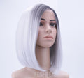 "Hairsleisure Short Bob 12"" New Ombre Grey Synthetic Straight White Hair Wig"