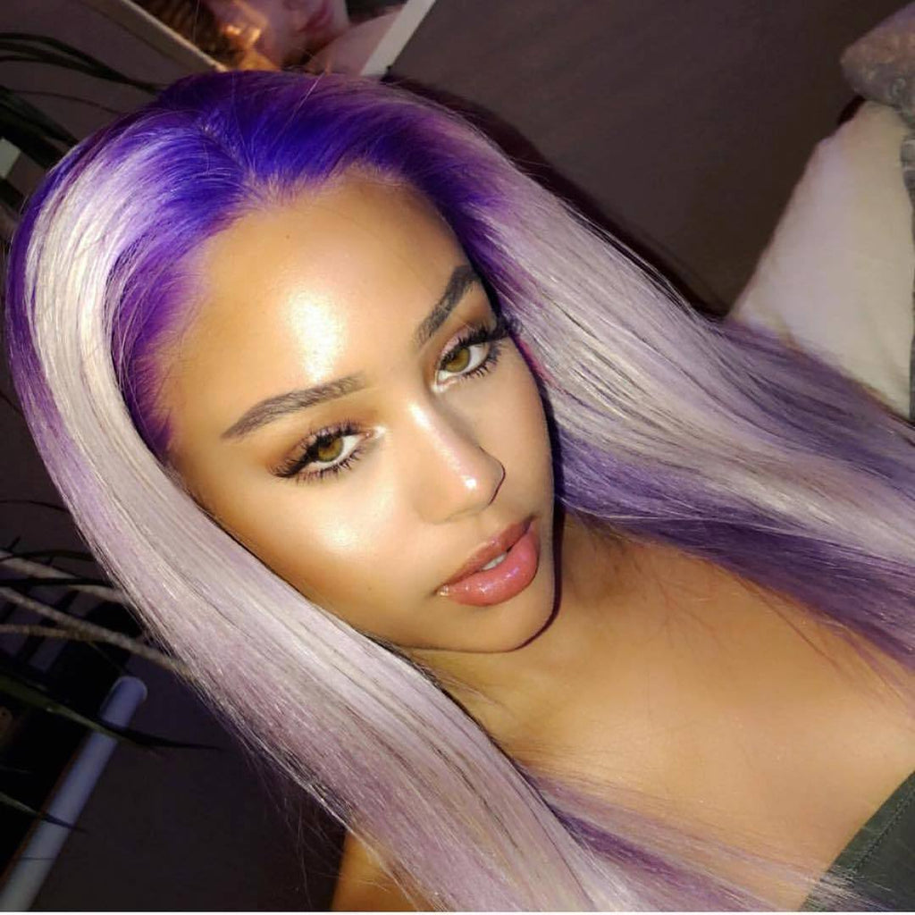 Hairsleisure Gradient Purple Long 360 Lace Wig Frontal Hand-Tied Trendy Straight Wig