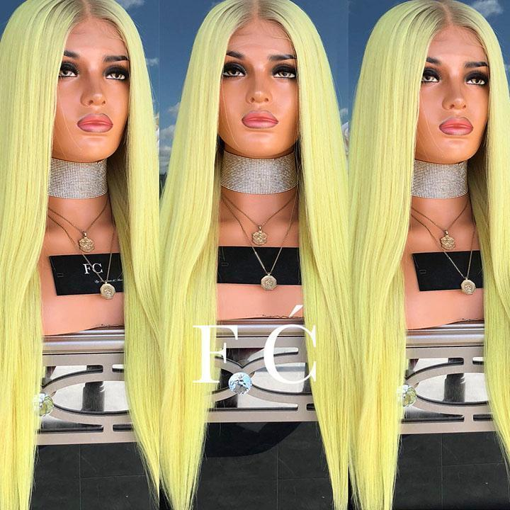 Hairsleisure Bright Yellow Straight Wig Best Seller 50% OFF Human Hair Lace