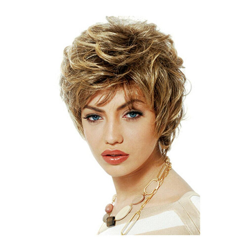 Hairsleisure Blonde Brown Short Curly Wig Human Hair Lace