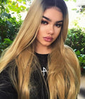 Hairsleisure Long Wave Sunshine Front 360 Lace Wig Pre Plucked Lace Frontal Wig