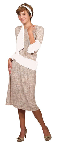 Beige Pattern Dress with Cuffs & Sashes 5 Piece Set