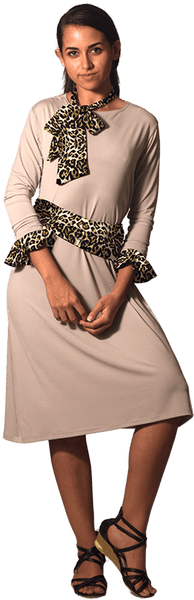 Beige Dress with Cuffs & Sashes 5 Piece Set