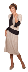 Image of Beige Pattern Dress with Cuffs & Sashes