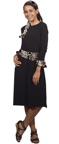 Black Dress with Cuffs & Sashes - 5 Piece Set