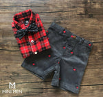 Shorts Shirt Set - Red Checks with Corduroy Shorts